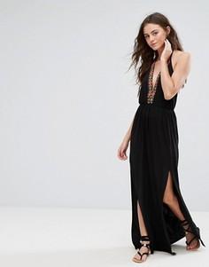 Платье макси с разрезом сбоку Boohoo - Черный