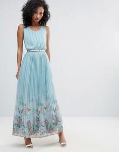 Платье макси с плиссированной юбкой и принтом Uttam Boutique - Синий