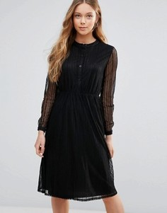Кружевное платье-рубашка Yumi - Черный