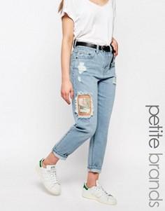Рваные джинсы бойфренда с нашивками Waven Petite Aki - Синий