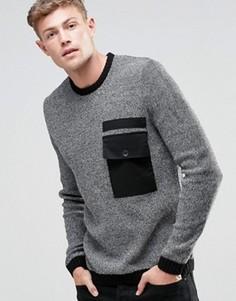 Джемпер с круглым вырезом и контрастным тканым карманом ASOS - Черный