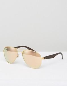 Солнцезащитные очки-авиаторы с зеркальными стеклами Ray-Ban 0RB3523 - Золотой