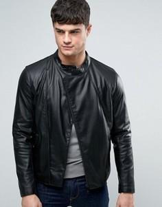 Черная байкерская куртка из искусственной кожи Armani Jeans - Черный