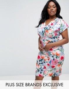 Платье-футляр с запахом и цветочным принтом Paper Dolls Plus - Мульти