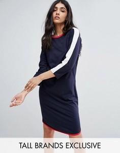 Трикотажное платье миди в контрастную полоску Daisy Street Tall - Темно-синий