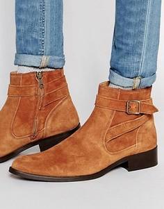 Светло-коричневые замшевые ботинки с длинным ремешком и пряжкой ASOS - Рыжий