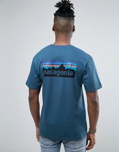 Синяя меланжевая футболка классического кроя с принтом Patagonia - Синий