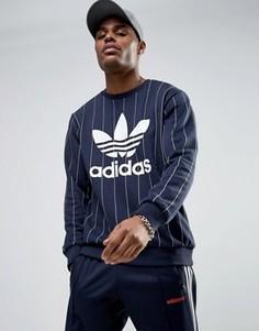 Темно-синий свитшот в полоску с круглым вырезом adidas Originals Tokyo Pack BQ3113 - Темно-синий