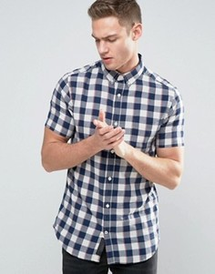 Рубашка в клетку с короткими рукавами Produkt - Темно-синий