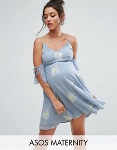 Платье мини с открытыми плечами и вышивкой ASOS Maternity - Синий