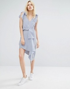Асимметричная мини-юбка в полоску с запахом J.O.A - Синий J.O.A.