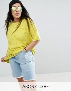 Свободная футболка с защипами ASOS CURVE - Желтый