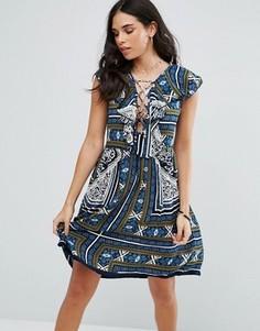 Платье мини с принтом Raga Riviera - Темно-синий