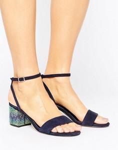 Сандалии на блочном каблуке с отделкой камнями и замшевым верхом Dune - Темно-синий