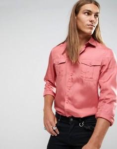 Розовая шелковая рубашка классического кроя ASOS - Розовый