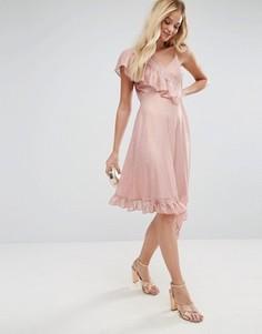 Чайное платье миди с асимметричным кроем в горошек металлик ASOS - Розовый