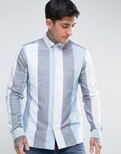 Рубашка на пуговицах в широкую полоску YMC - Синий