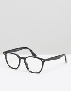 Очки в прямоугольной оправе с прозрачными стеклами ASOS - Черный