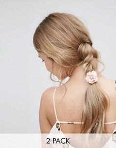 Набор из 2 резинок для волос с розами ASOS - Розовый