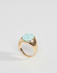 Кольцо-печатка со вставкой под мрамор Pieces - Золотой