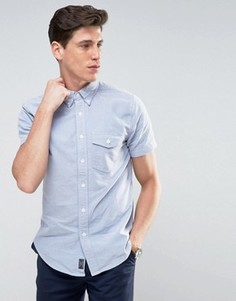 Голубая узкая рубашка с короткими рукавами Abercrombie & Fitch - Синий