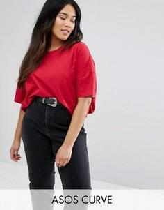 Свободная футболка ASOS CURVE - Красный