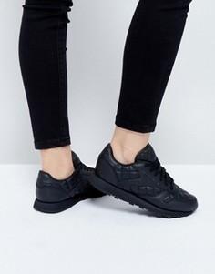 Классические кожаные кроссовки со стеганой отделкой Reebok - Черный