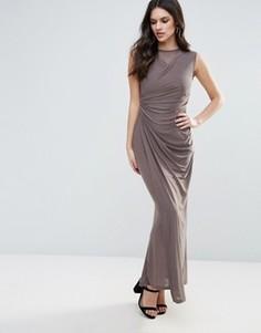 Платье макси со сборками спереди Ax Paris - Серый