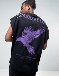 Oversize-футболка без рукавов с принтом орел ASOS - Черный