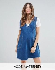 Джинсовое платье мини винтажного синего цвета ASOS MATERNITY Chuck On - Синий
