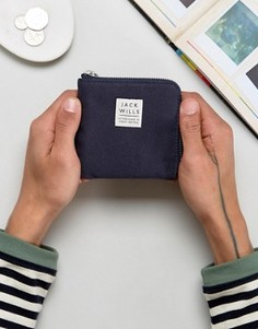 Темно-синий парусиновый бумажник на молнии Jack Wills Kepson - Темно-синий