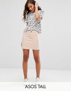 Розовая выбеленная джинсовая юбка с заниженной талией ASOS TALL - Розовый