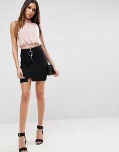 Трикотажная мини-юбка с кольцом и молнией ASOS - Черный