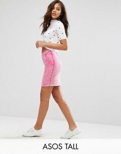 Розовая джинсовая мини-юбка ASOS TALL - Розовый