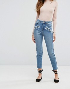 Джинсы в винтажном стиле с цветочной вышивкой Miss Selfridge Jeans - Синий