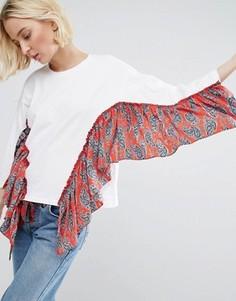 Oversize-футболка с контрастными оборками STYLENANDA - Белый