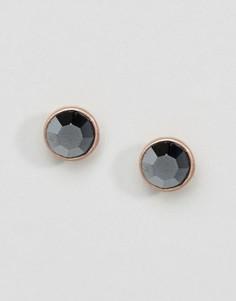 Серьги-гвоздики с серыми камнями Pilgrim - Черный