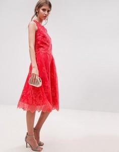 Кружевная юбка миди Little Mistress - Красный