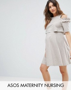 Короткое приталенное платье из трикотажа с открытыми плечами ASOS Maternity NURSING - Бежевый