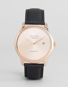 Часы с золотистым циферблатом и черным кожаным ремешком Reclaimed Vintage Inspired - Черный