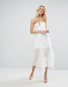 Платье-бюстье миди с рюшами и корсетом Aeryne - Белый
