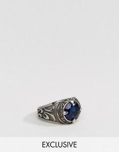 Кольцо с синим стеклом Reclaimed Vintage Inspired - Серебряный