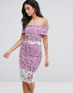 Платье-футляр со спущенными плечами и цветочным принтом Vesper - Мульти