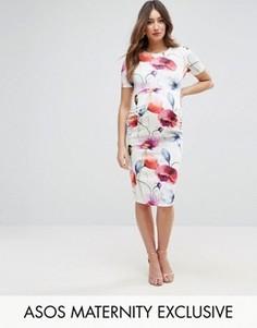 Облегающее платье с круглым вырезом и цветочным принтом ASOS Maternity - Мульти