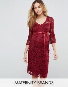Кружевное платье миди Mamalicious - Красный Mama.Licious