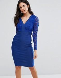 Платье-футляр с кружевным топом и длинными рукавами Vesper - Синий