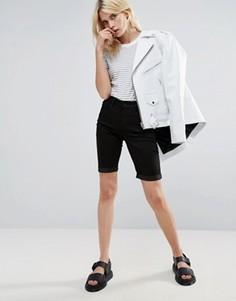 Джутовые джинсовые шорты удлиненного кроя Pieces - Черный