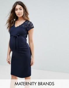 Платье миди с кружевной вставкой Mamalicious - Темно-синий Mama.Licious