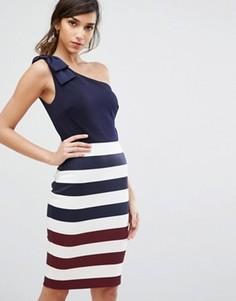 Платье на одно плечо в полоску Ted Baker - Темно-синий