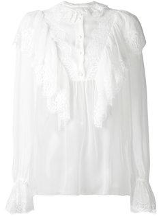 блузка с оборками и кружевом Dolce & Gabbana
